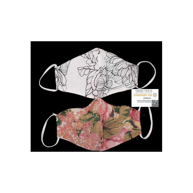 Maska ochronna lniana  DESEŃ podwójna ECO LEKKI ODDECH 2 - NOSEK - min. parowania okularów