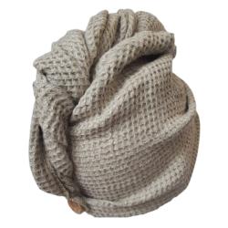 tył turban wafel lniany 100% miękki i puszysty